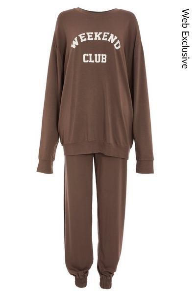 Mocha 'Weekend Club' Sweater Set